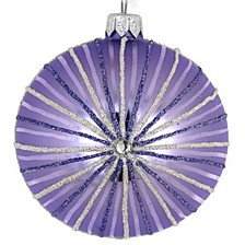 "Lavender Stripe 4 Pc Set of Mouth Blown & Hand Decorated European Glass 4"" Round Holiday Ornaments"