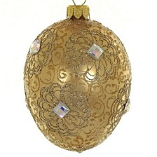 "Beige Metallic Mouth Blown & Hand Decorated European 4"" Egg Shaped Holiday Ornament"
