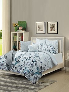 Aurora 8 Piece Comforter Set Blue Queen
