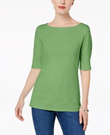 Karen Scott Cotton Elbow-Sleeve Top, Created for Macy's
