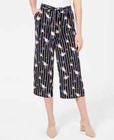 Maison Jules Mixed-Print Tie-Waist Pants, Created for Macy's