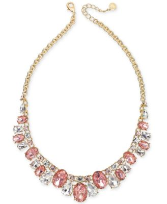 """Crystal & Stone Collar Necklace, 17"""" + 2"""" extender, Created for Macy's"""