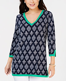 Charter Club Printed V-Neck Tunic, Created for Macy's