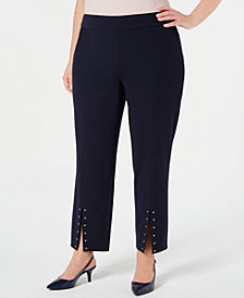 JM Collection Plus Size Studded Slit Pants