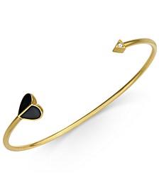 Gold-Tone Enamel & Cubic Zirconia Heart & Arrow Cuff Bracelet