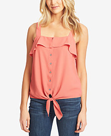 1.STATE Ruffled Button-Front Sleeveless Top