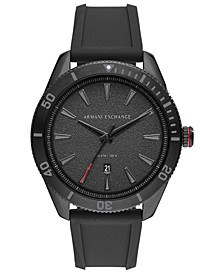 Men's Enzo Black Silicone Strap Watch 46mm