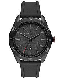 A|X Armani Exchange Men's Enzo Black Silicone Strap Watch 46mm