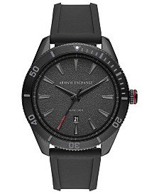 A|X Armani Exchange Men's Enzo Black Silicone Strap Watch 46mm