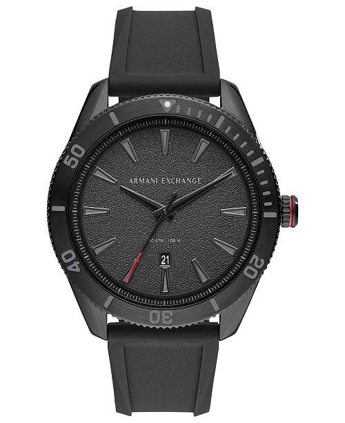 A X Armani Exchange Men's Enzo Black Silicone Strap Watch 46mm