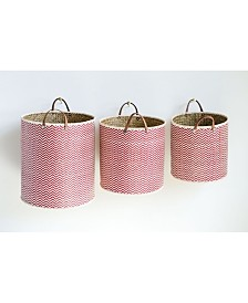 Red Chevron Laundry Baskets w/Leather Handles, Set of 3