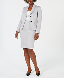 Le Suit Petite Basket Weave Skirt Suit