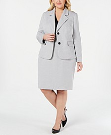 Plus Size Basket Weave Skirt Suit