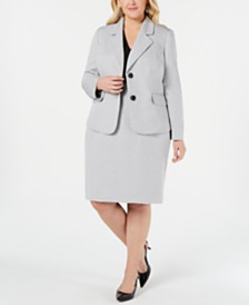 Le Suit Plus Size Basket Weave Skirt Suit