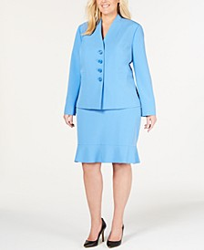 Ruffle-Hem Shoulder-Pads Skirt Suit