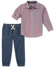 Toddler Boys 2-Pc. Plaid Woven Shirt & Jogger Pants Set