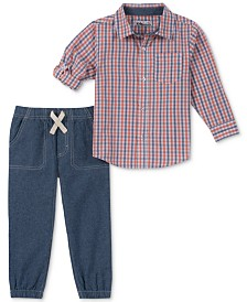 Kids Headquarters Toddler Boys 2-Pc. Plaid Woven Shirt & Jogger Pants Set