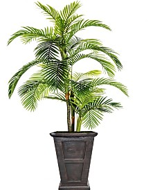 "Laura Ashley 102.8"" Tall Palm Tree Artificial Indoor/ Outdoor Lifelike Faux in Fiberstone Planter"