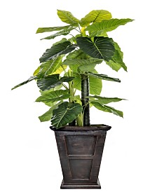 "Laura Ashley 90.8"" Tall Indoor-Outdoor Elephant Ear Plant Artificial Indoor/ Outdoor Decorative Faux in Fiberstone Planter"