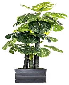 """Laura Ashley 78"""" Tall Indoor-Outdoor Monstera Ceriman Artificial Indoor/ Outdoor Lifelike Faux in Fiberstone Planter"""