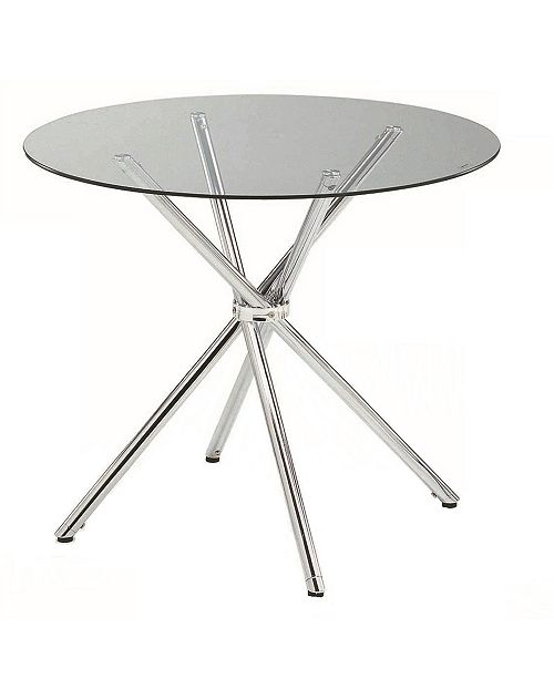 "New Spec Inc Carrisa 36"" Round Dining Tempered Glass Table"