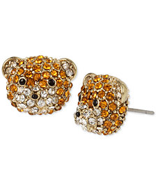 Betsey Johnson Gold-Tone Pavé Teddy Bear Stud Earrings