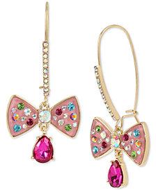 Betsey Johnston Gold-Tone Stone & Enamel Bow Drop Earrings
