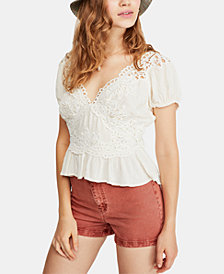 Free People Sweet Roses Lace & Crochet Blouse