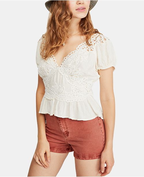2fbc17ca3128b Free People Sweet Roses Lace   Crochet Blouse   Reviews - Tops ...