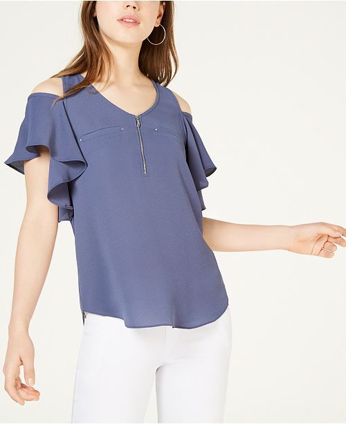 BCX Juniors' Ruffled Cold-Shoulder Top