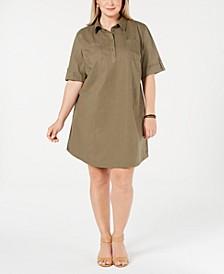 Plus Size Cotton Short-Sleeve Shirtdress, Created for Macy's