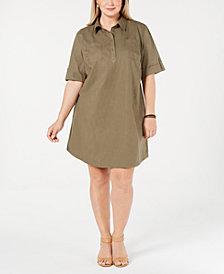 Karen Scott Plus Size Cotton Short-Sleeve Shirtdress, Created for Macy's