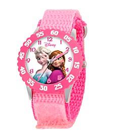 Disney Frozen Anna and Elsa Girls' Stainless Steel Time Teacher Watch