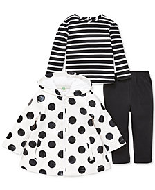 Little Me Baby Girls 3-Pc. Dot-Print Jacket, Striped Top & Leggings Set