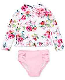 Little Me Watercolor Floral Baby Girls 2-Pc. Rashguard