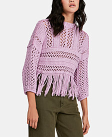 Free People Fringe Open-Knit Cropped Sweater