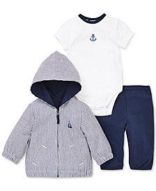 Little Me Baby Boys 3-Pc. Jacket, Anchor Bodysuit & Pants Set