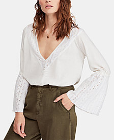 Free People Bell-Sleeve Contrast Ribbed Top
