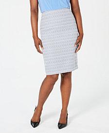 Kasper Textured Back-Slit Skirt