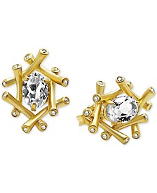 Kesi Jewels White Topaz (3/4 ct. t.w.) & Diamond (1/8 ct. t.w.) Bamboo-Look Stud Earrings in 18k Gold-Plated Sterling Silver