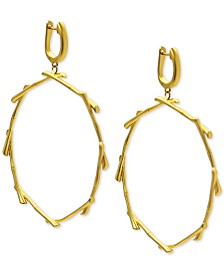 Kesi Jewels Drop Hoop Earrings in 18k Gold over Sterling Silver