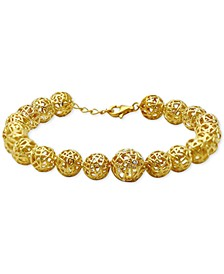 Diamond & White Topaz Accent Openwork Ball Link Bracelet in 18k Gold-Plated Sterling Silver