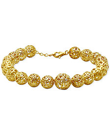 Kesi Jewels Diamond & White Topaz Accent Openwork Ball Link Bracelet in 18k Gold-Plated Sterling Silver