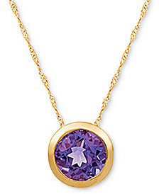 """Amethyst (1-1/5 ct. t.w.) 18"""" Pendant Necklace in 14k Gold(Also Available in Blue Topaz, Aquamarine, Peridot and Opal)"""