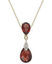 "Garnet (3-3/8 ct. t.w.) & Diamond Accent 18"" Pendant Necklace in 14k Gold"