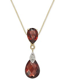 "Garnet (3-3/8 ct. t.w.) & Diamond Accent 18"" Pendant Necklace in 14k Gold"