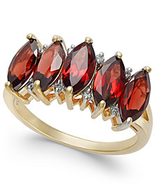 Garnet (4 ct. t.w) & Diamond Accent Ring in 14k Gold