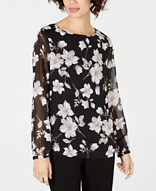 Nine West Floral-Print Blouse