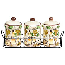 Lorren Home Trends White Grape Ceramic 3 Piece Jar Set in Stand