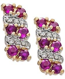 Ruby (5/8 ct. t.w.) & Diamond Accent Drop Earring in 14k Gold